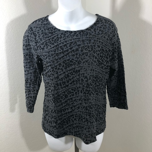 Investments Tops - Investments Black And Grey Leopard Print Top